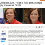 Olimpiadi 2016, Helen e Kate prima coppia gay sposata ai Giochi