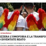 IN SVIZZERA L'OMOFOBIA E LA TRANSFOBIA SONO DIVENTATE REATO